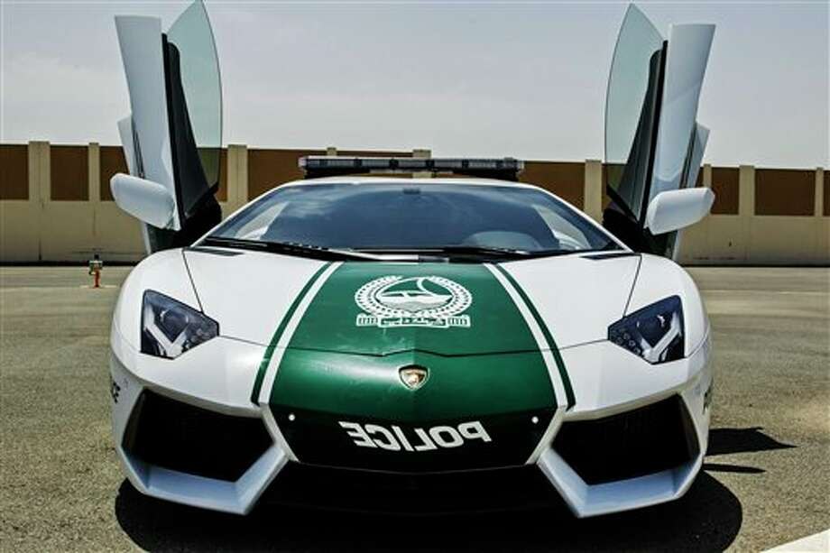This image released by the Dubai Police, shows a Lamborghini Aventador, in Dubai, United Arab Emirates, Thursday, April 11, 2013. In a city of boundless bling, Dubai police also are in hot pursuit after adding a nearly $550,000 Lamborghini to its fleet. Local media reports Thursday say the Italian-made Lamborghini Aventador is the crown jewel of a wider upgrade in Dubai police wheels. Photo: Uncredited, AP / AP2013