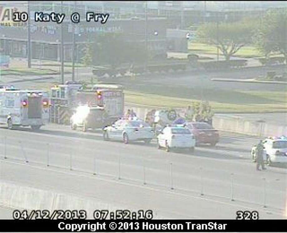 Traffic was snarled after a crash on the eastbound Katy Freeway near Fry Road Friday morning Photo: Houston Transtar