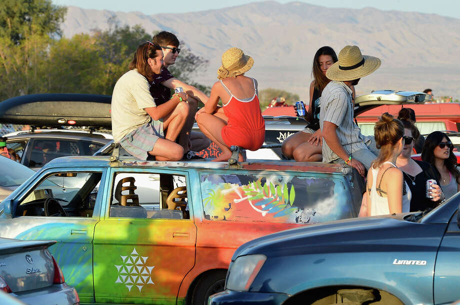 Coachella music fans arrive at the 2013 Coachella Music Festival at The Empire Polo Club on April 11, 2013 in Indio, California. Photo: Frazer Harrison, Getty Images / 2013 Getty Images