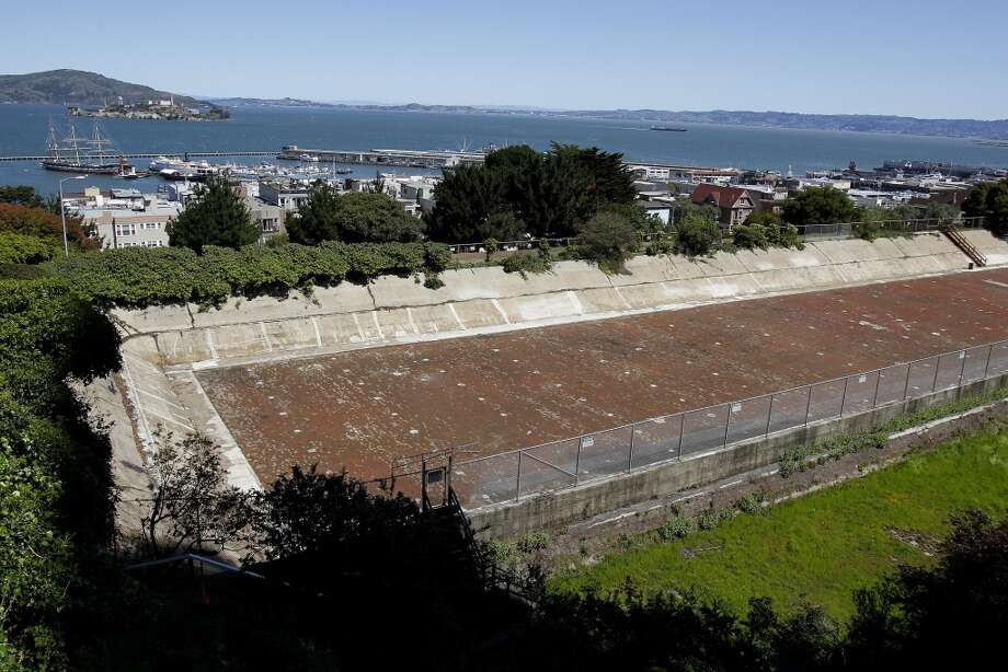 With the reservoir filled in, the view from site would be one of the best in the city. The reservoir on Russian Hill in San Francisco, Calif. has not been used in many decades, and now neighbors and Supervisor Mark Farrell hope to revitalize the area and turn it into a park.