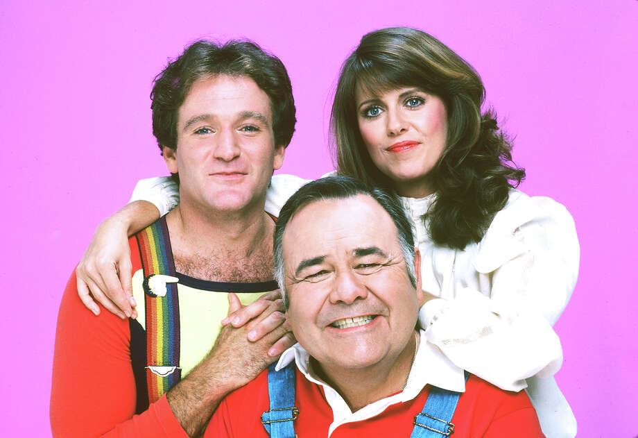 "In 1981, the fourth season  of ""Mork and Mindy"" brought a surprising development to the series when Mork (Robin Williams) married Mindy (Pam Dawber), and he gave birth to their first child, the full-grown Mearth (Jonathan Winters), who looked middle-aged, but babbled like a baby. Photo: Bob D'Amico, Getty Images / 1981 American Broadcasting Companies, Inc."