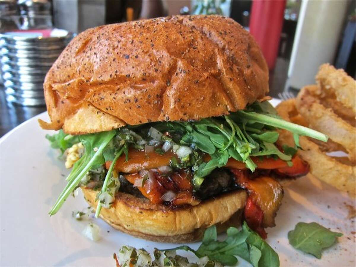 El Gaucho burger at Gratifi, with roasted red pepper, chimichurri and arugula