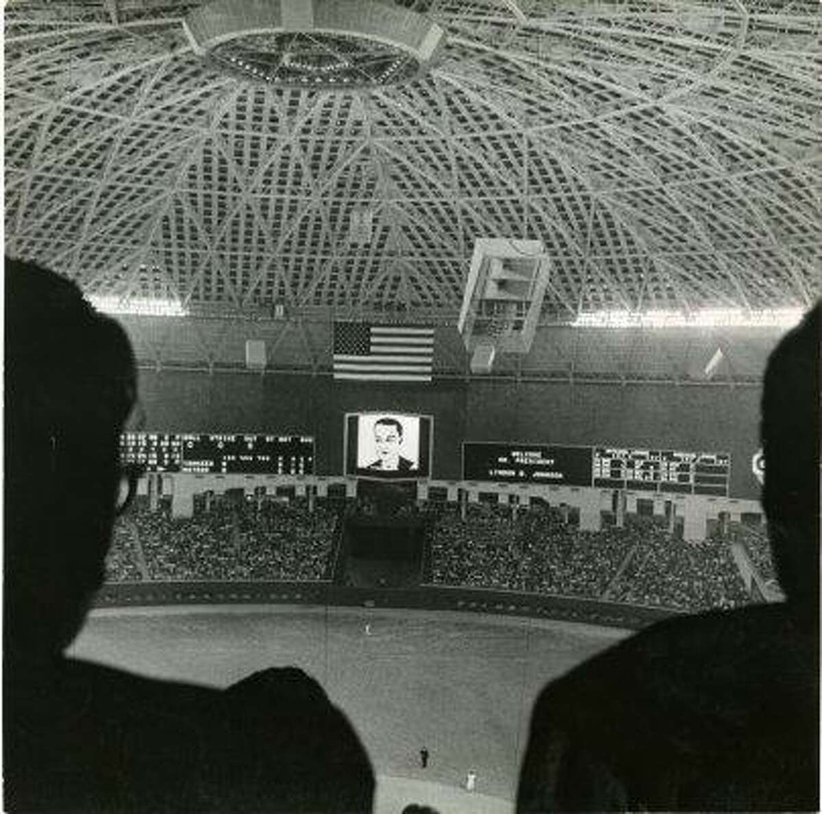 The Astrodome scoreboard lit up in 1965 to welcome President Lyndon Baines Johnson to the world's first indoor baseball game.