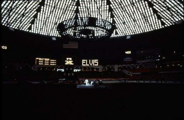 Elvis Presley performs at the 1970 Houston Livestock Show and Rodeo in the Astrodome. Photo: Fred Bunch, Houston Chronicle