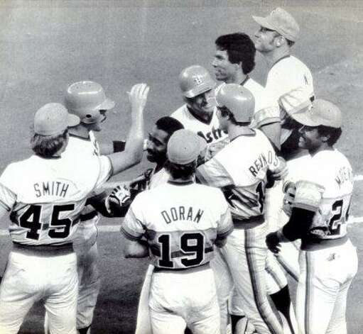 Houston Astro Craig Reynolds is congratulated by his teammates after he drove in the winning run with a single in the 10th inning of a game in 1983. Photo: Tim Johnson, UPI