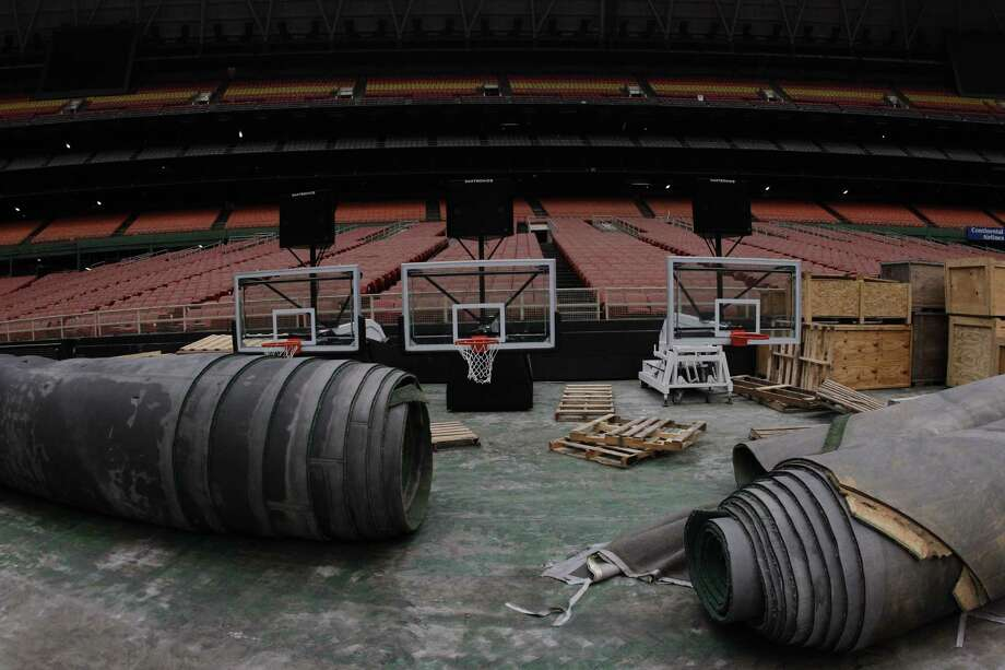 Rolled up Astro Turf and Final Four basketball goals are stored inside the Reliant Astrodome Tuesday, April 3, 2012, in Houston. Photo: Melissa Phillip, Houston Chronicle / © 2012 Houston Chronicle