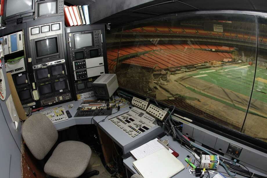 Items remain in the video control booth at the Reliant Astrodome Tuesday, April 3, 2012, in Houston. Photo: Melissa Phillip, Houston Chronicle / © 2012 Houston Chronicle