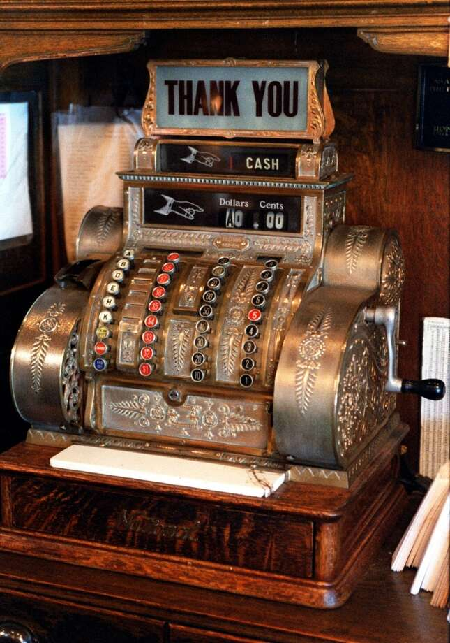 The ornate original cash register at Freed Teller & Freed, purveyors of coffee and tea for nearly 100 years, only goes to the once-unthinkable maximum price of $9.99 - current prices are somewhat higher.