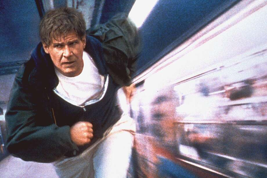 MV0371790000 0204_03 NBC 02-04-2001 8:30 PM The Fugitive Best Bet Feature Harrison Ford stars as Dr. Richard Kimble   who flees after being wrongfully convicted of his wife's murder   in the movie version of ''The Fugitive,'' Sunday, Feb. 4 (8:30-11 p.m. ET) on NBC. 6x4 Color 72dpi Photos-Jay