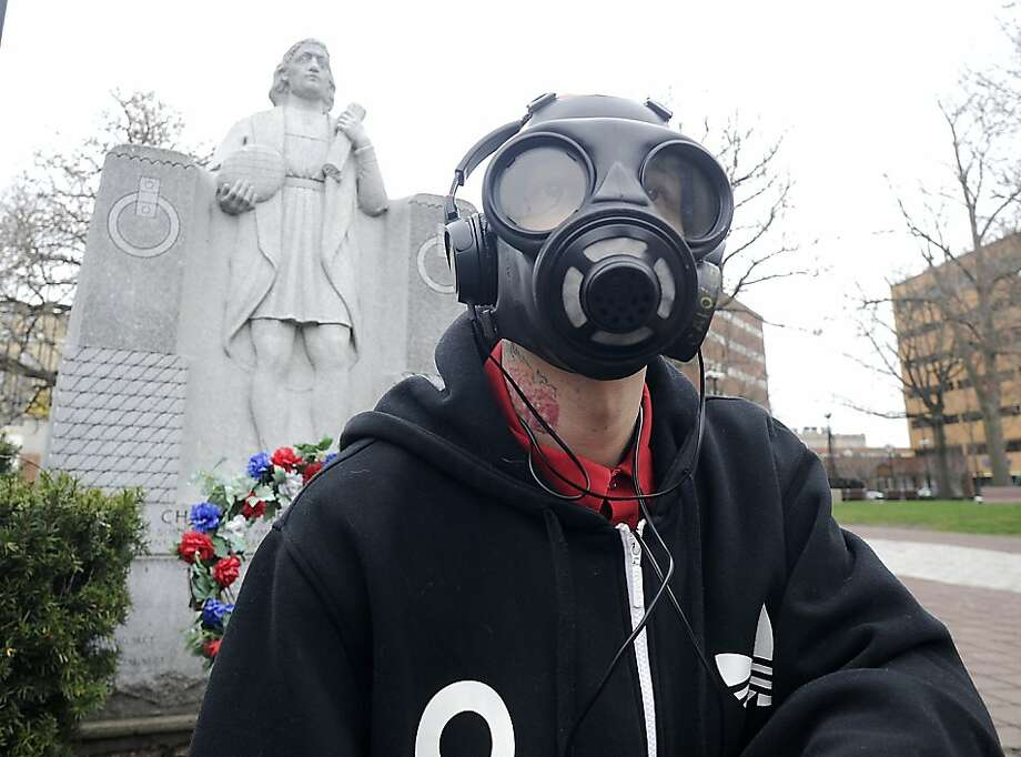 Kim Jong Un is apparently targeting the greater Scranton area: In Wilkes-Barre, Pa., Jake Fletcher wears a gas mask in case, he says, North Korea launches a nuclear missile toward the United States. Photo: Mark Moran, Associated Press