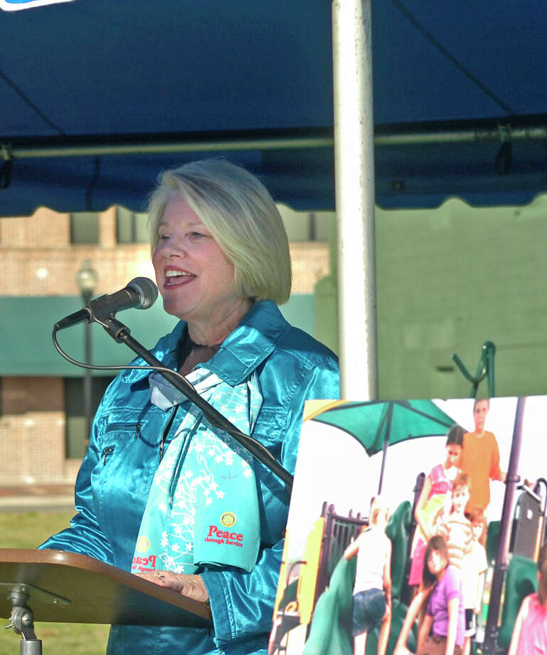 Beaumont Rotary president Becky Mason presided over a ground-breaking ceremony Thursday for a special needs park next to the downtown Event Centre. The club is building the park in honor of its 100th anniversary. Photo: Sarah Moore