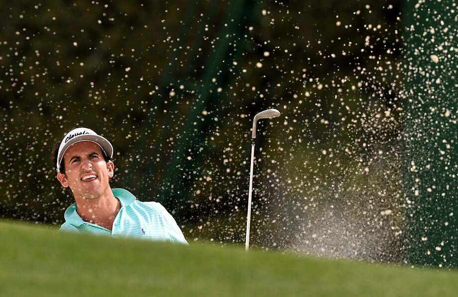 Sand blaster: Gonzalo Fernandez-Castano of Spain powers out of a trap during the first round of the Masters at Augusta. Photo: Jewel Samad, AFP/Getty Images