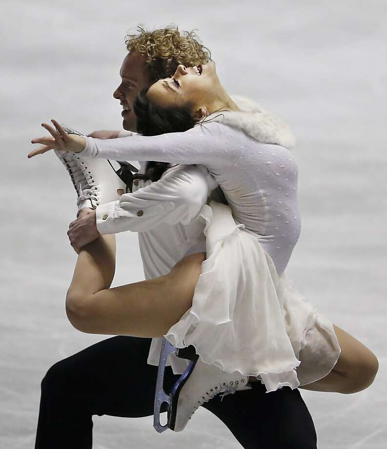 I got your back:Madison Chock and Evan Bates of the United States pull off a tricky move during the Ice Dance free dance of the ISU World Team Trophy competition in Tokyo. Photo: Koji Sasahara, Associated Press