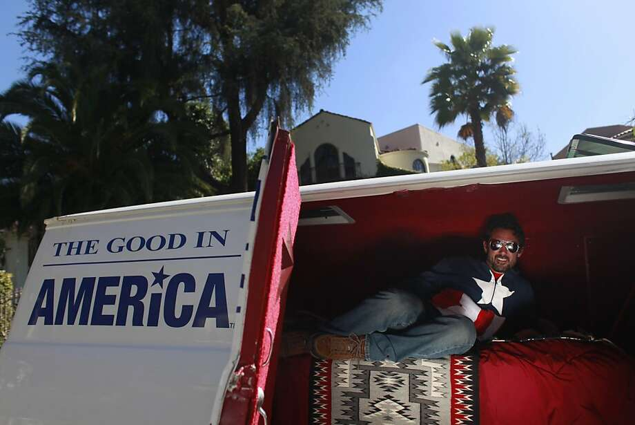 "Trek Thunder Kelly has been traveling the U.S. the past three years for a book and art installation, ""The Good in America."" Photo: Mike Kepka, The Chronicle"