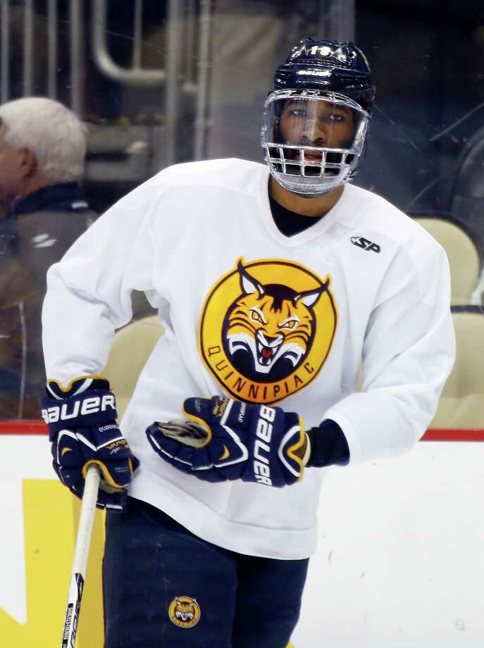 Quinnipiac's Jordan Samuels-Thomas skates during NCAA college hockey practice at the Frozen Four, Friday, April 12, 2013, in Pittsburgh. Quinnipiac plays Yale in the championship game on Saturday. Photo: Keith Srakocic