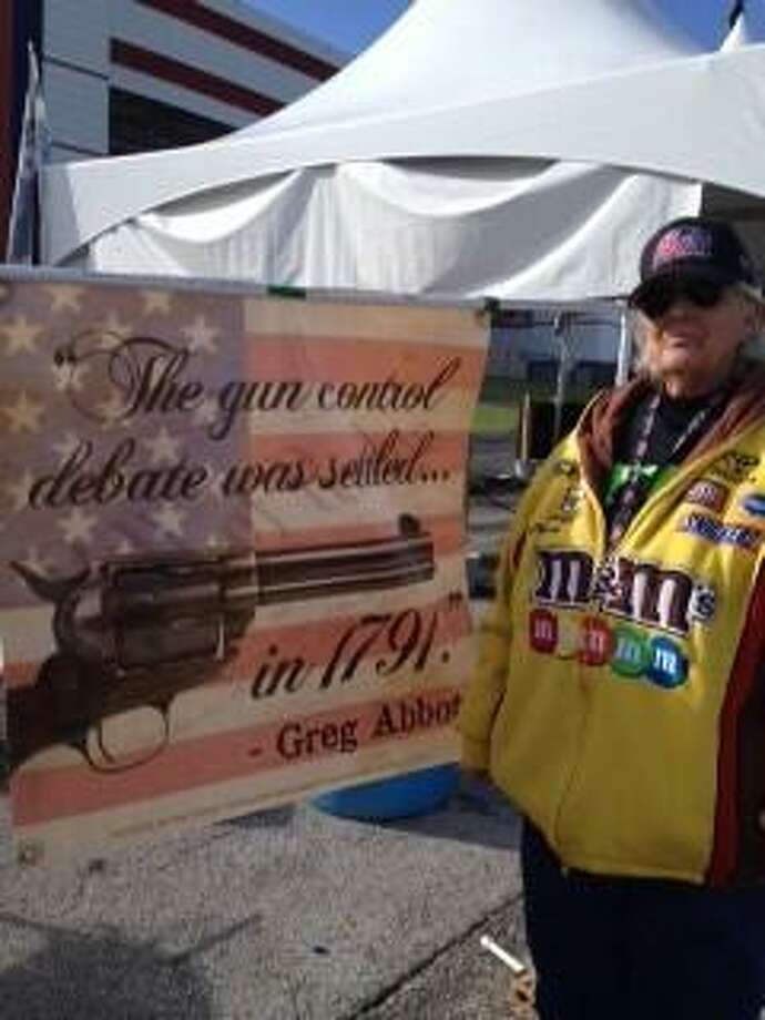 A supporter of Texas Attorney General Gregg Abbott at Texas Motor Speedway