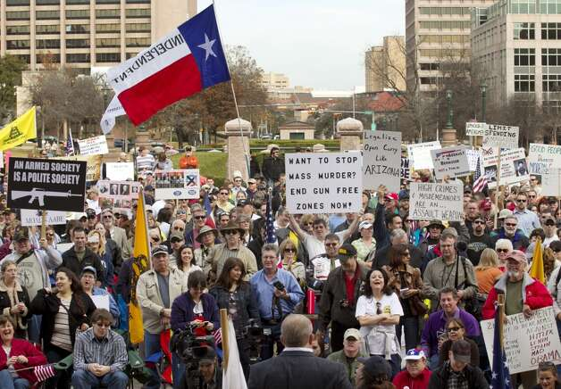 Hundreds attend a Guns Across America pro-Second Amendment rally at the state Capitol in Austin, Texas, on Saturday Jan. 19, 2013.
