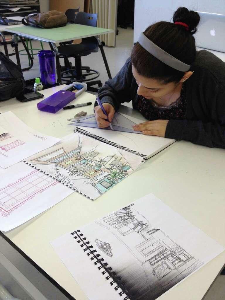 university of bridgeport interior design student talissa traverso sketches plans for a living room for huntington - Interior Design Groups