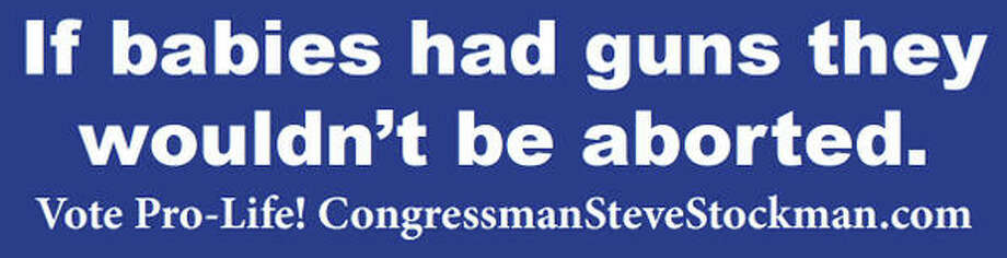 Bumper sticker tweeted by Rep. Steve Stockman on Friday. Photo: Steve Stockman