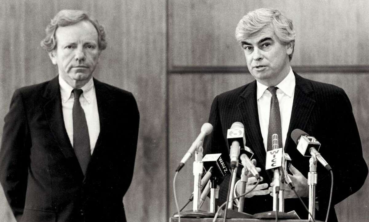 U.S. Senators Joe Lieberman and Christopher Dodd at a press conference in Bridgeport on April 24, 1989 after the tragic accident at the L'Ambiance Plaza construction site.