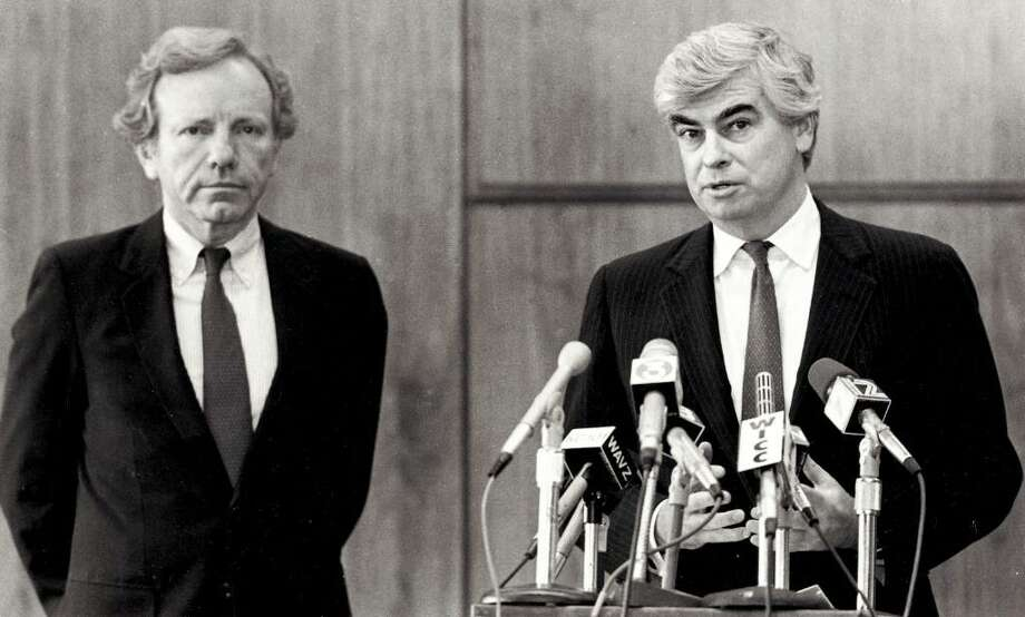 U.S. Senators Joe Lieberman and Christopher Dodd at a press conference in Bridgeport on April 24, 1989 after the tragic accident at the  L'Ambiance Plaza  construction site. Photo: File Photo / Stamford Advocate File Photo