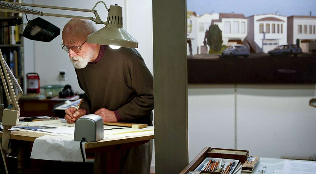 Artist Robert Bechtle works on a drawing in his Portrero Hill home studio in San Francisco, Calif., on Tuesday, Dec. 11, 2012.