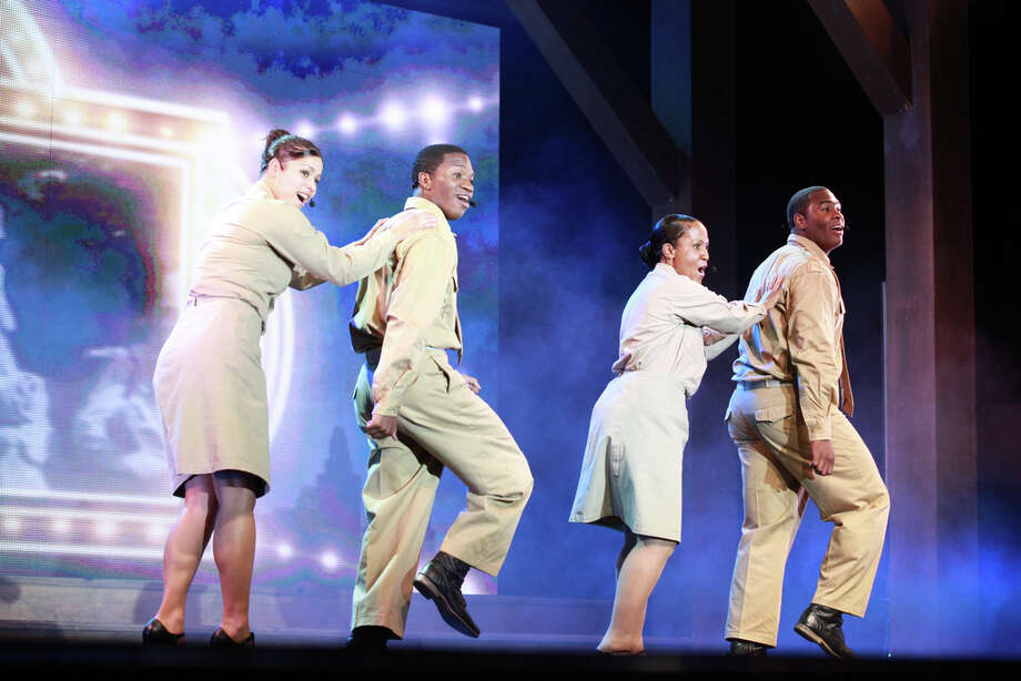 "The 2012 cast of the ""U.S. Army Soldier Show featured, from left, Sgt. Genesis Rodriguez, Spc. Julio Petersen, Spc. Tiffani Lindstrom and Pfc. Justin Easter. Courtesy Evan Dyson, IMCOM Public Affairs"