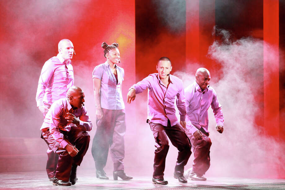 "The 2012 cast of the ""U.S. Army Soldier Show"" featured, from left, Pfc. De'Andre Fletcher (crouching), Pfc. Jessie Vinson, Spc. Kayonnia Crowder, Pfc. Christopher Roman and Spc. Glenn Grainger. Courtesy Evan Dyson, IMCOM Public Affairs"