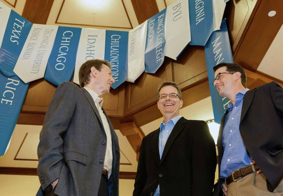 As contestants and others check in, three men from the Mercury Fund (they've supported the competition from its early days and helped shape its course) L-R ID: Ned Hill, Managing Director; Dan Watkins, PhD, Managing Director;  Blair Garrou, Managing Director discuss the Rice Business Plan Competition. Thursday Photo: Craig Hartley, Freelance / Copyright: Craig H. Hartley