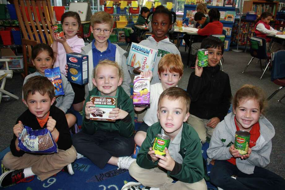 Kindergarteners at The John Cooper School helped to collect 212 pounds of food for a local food pantry.