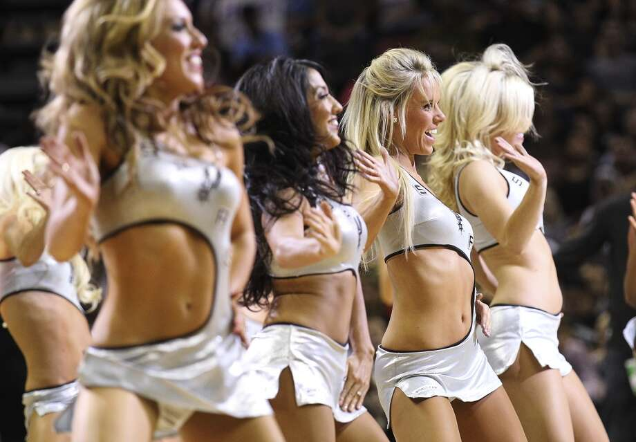 Spurs Silver Dancers perform during a timeout in a game against the Sacramento Kings in the second quarter at the AT&T Center on Friday, Apr. 12, 2013.