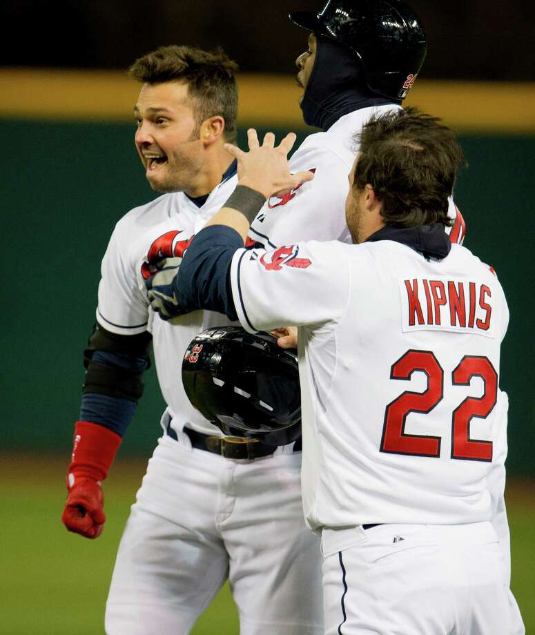 Thanks to Nick Swisher, left, Michael Bourn, Jason Kipnis and the Indians got their first home win. Photo: Jason Miller, Stringer / 2013 Getty Images