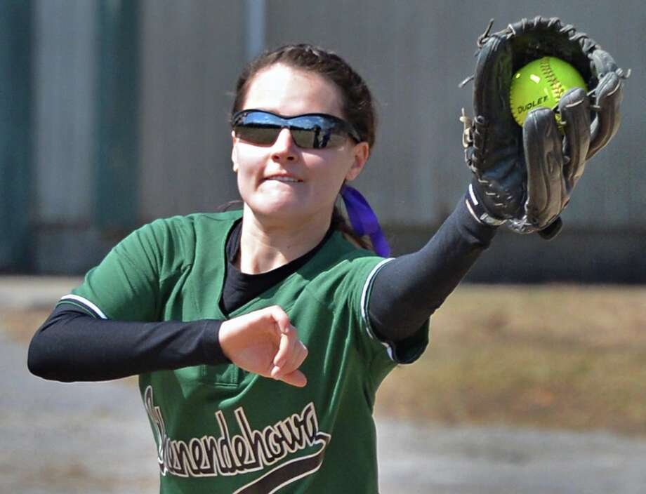 Taylor Fitzgerald makes an out at first during Shen's game with Saratoga High at Geyser Road Field in Saratoga Springs Friday April 5, 2013.  (John Carl D'Annibale / Times Union) Photo: John Carl D'Annibale / 10021862A