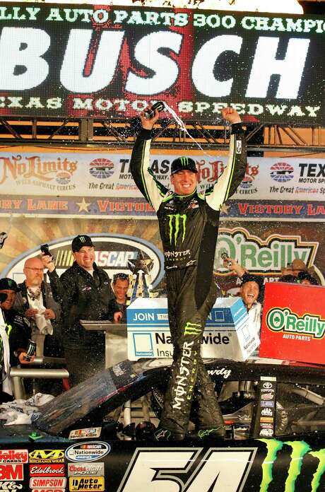 Kyle Busch has his name in lights after winning the Nationwide race at Texas Motor Speedway on Friday. Photo: John Rhodes, STR / Fort Worth Star-Telegram