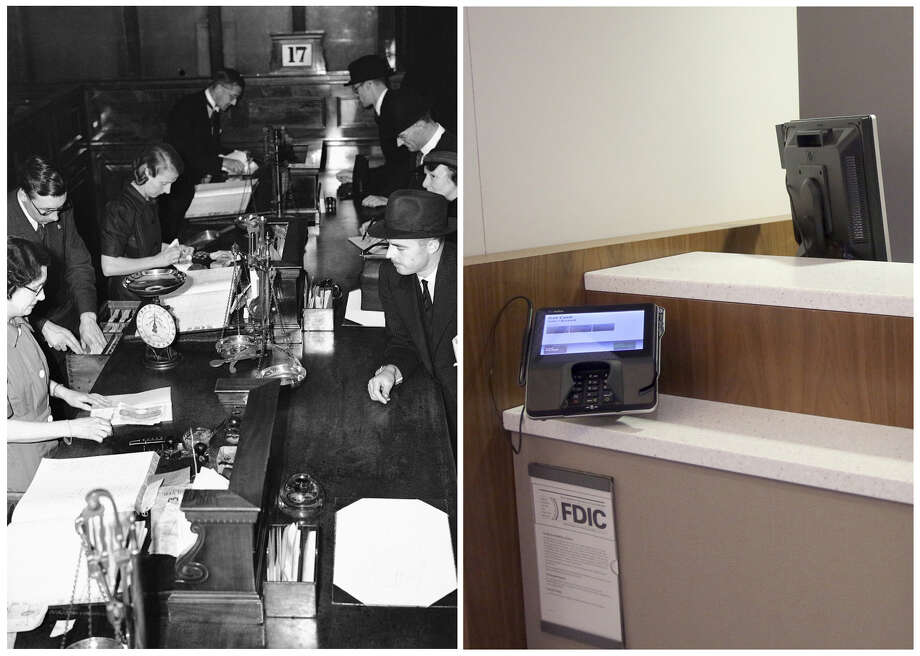 Cashiers work in a branch bank in 1940. Some executives say the brick-and-mortar branch is still viable. Photo: STF / AP