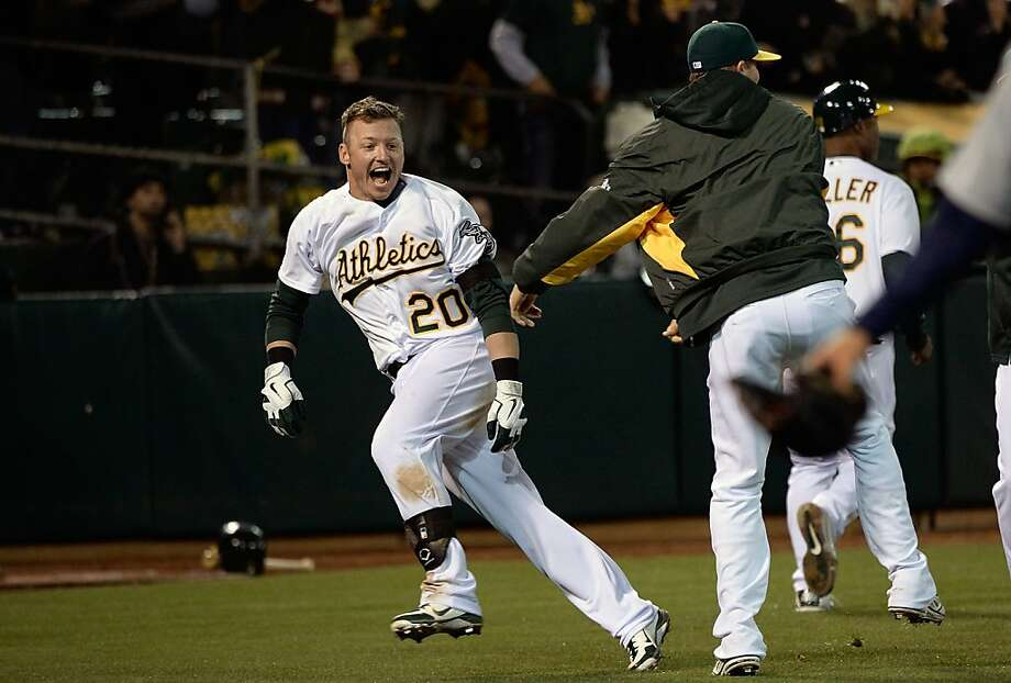 Josh Donaldson is ecstatic after hitting his game-winner in the 12th inning. Photo: Thearon W. Henderson, Getty Images