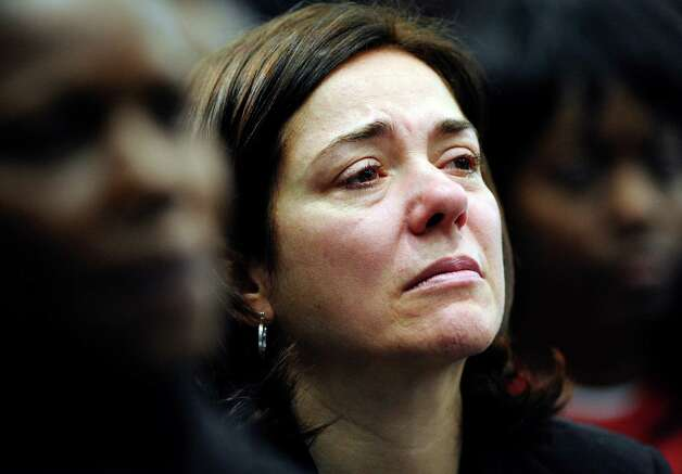 "Francine Wheeler, whose 6-year-old son, Ben, was killed inside Sandy Hook Elementary School, stepped in for President Barack Obama to deliver the president's weekly radio and Internet address on Saturday, April 13, 2013. She is the first person to deliver the address other than Obama or Vice President Joe Biden since the two took office in 2009. ""Thousands of other families across the United States are also drowning in our grief,"" Wheeler said in Saturday's address. ""Please help us do something before our tragedy becomes your tragedy."" Photo: Jessica Hill, Associated Press / FR125654 AP"