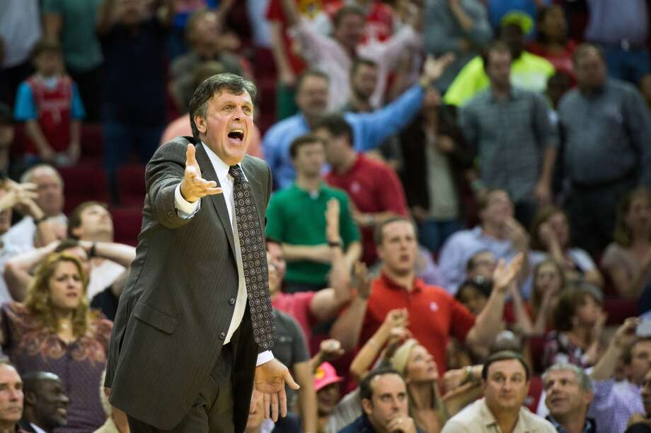 Rockets head coach Kevin McHale lobbies for a call during the second half.