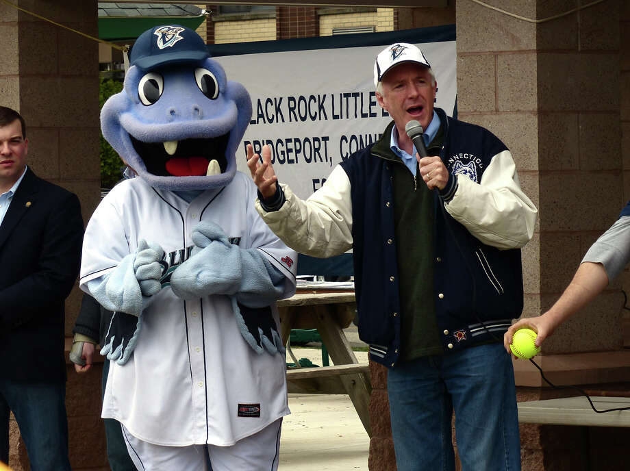 Bluefish baseball team mascott, B.B. the Bluefish looks on as Bridgeport Mayor Bill Finch welcomes everyone, during the Opening Day Ceremony which was held for teams in the Black Rock Little League at Ellsworth Field in Bridgeport, Conn. on Saturday April 13, 2013. Photo: Christian Abraham / Connecticut Post