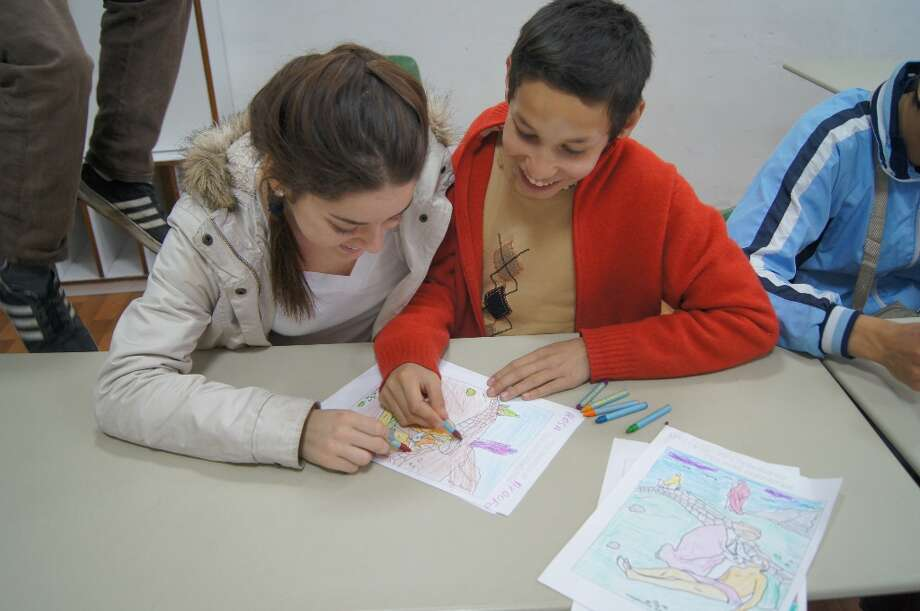 After every Bible lesson we did, we gave the kids coloring pages that went along with it.  Photo by Victor Ilieva.
