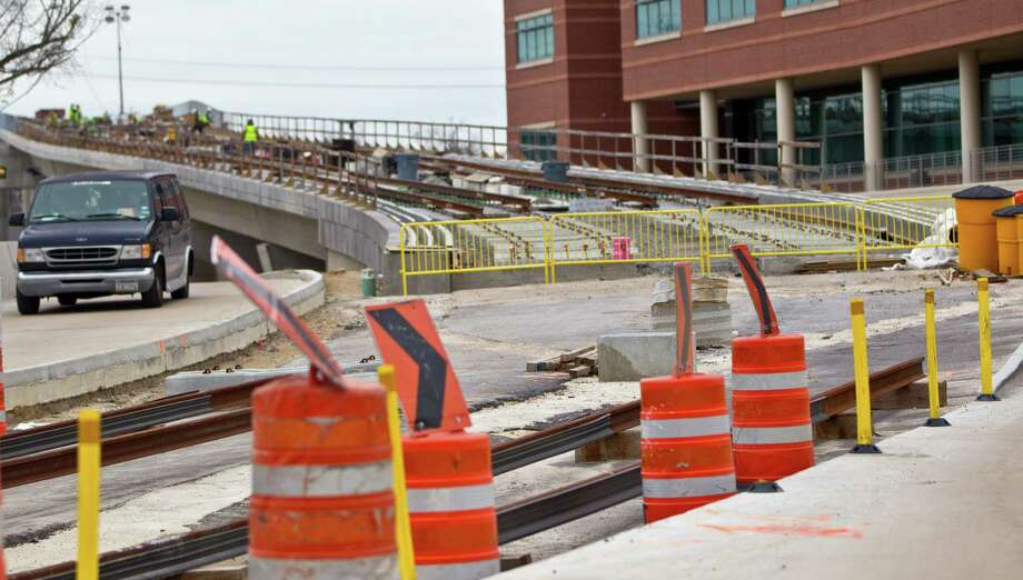 Construction continues on the North Line light rail expansion on Jan. 4, 2012. ( Karen Warren / Houston Chronicle ) Photo: Karen Warren, Staff / © 2012 Houston Chronicle