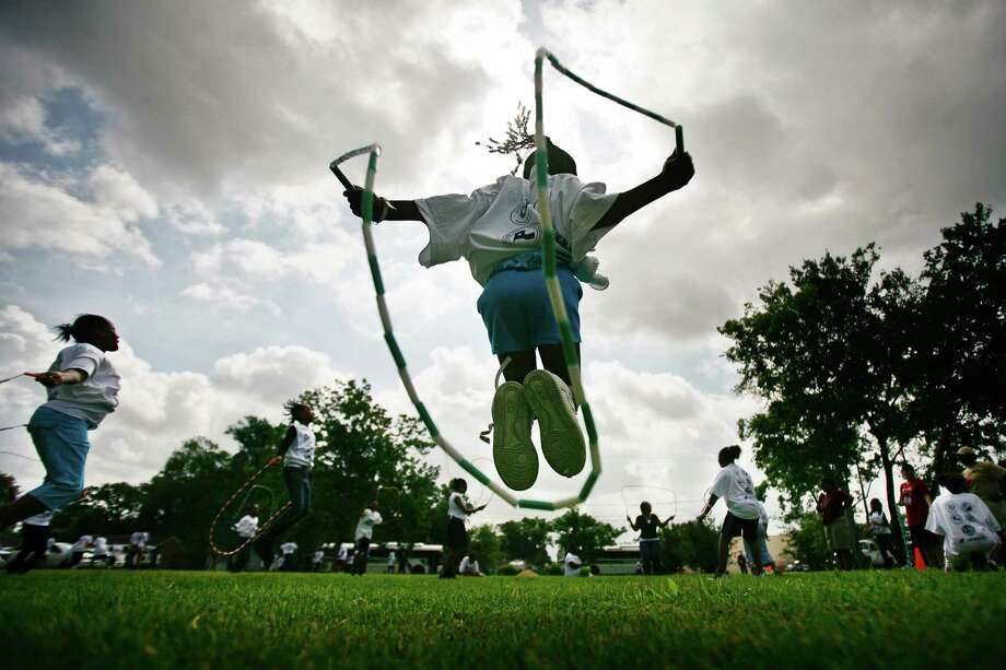Jazmyn Jones competed in a jump rope event during the 2010 Street Olympics Opening Ceremony at Mickey Leland Memorial Park. Photo: Michael Paulsen, HC Staff / Houston Chronicle