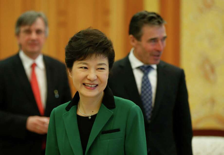 South Korean President Park Geun-hye, center, held talks on Friday with NATO Secretary-General Anders Fogh Rasmussen, right, and Secretary of State John Kerrey, not shown, over  tensions with North Korea. Photo: Lee Jae-won, POOL / REUTERS POOL