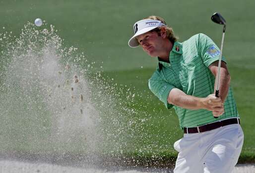 Brandt Snedeker hits out of a bunker on the second hole during the third round of the Masters golf tournament Saturday, April 13, 2013, in Augusta, Ga. (AP Photo/David J. Phillip) Photo: David J. Phillip, Associated Press / AP