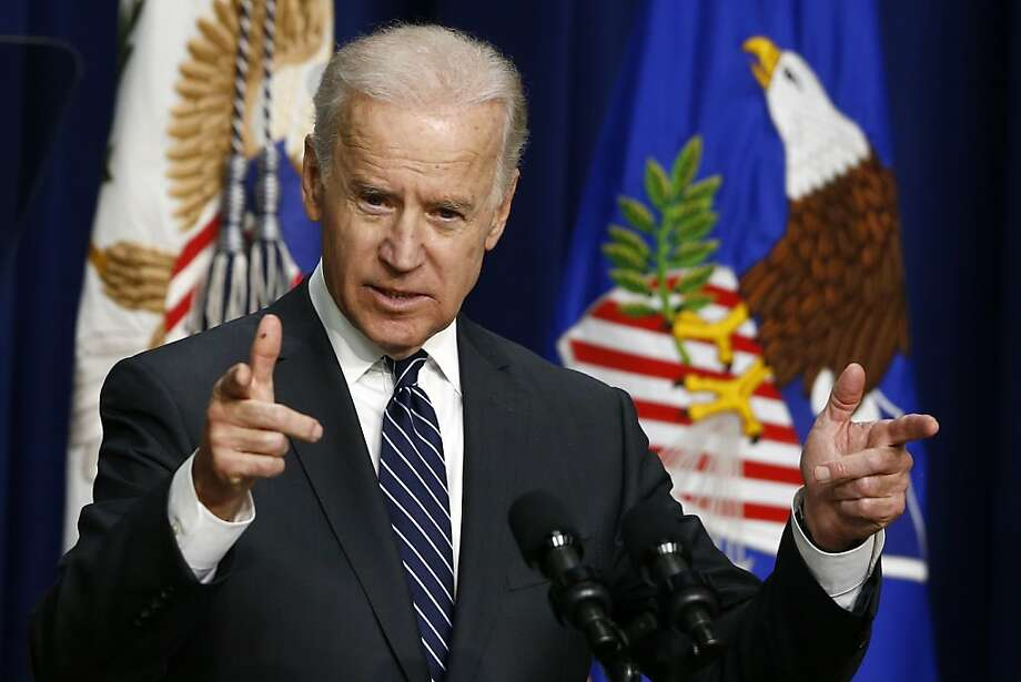 Vice President Joe Biden talks about limiting the capacity of magazines and the use of biometrics to curb gun violence. Photo: Charles Dharapak, Associated Press