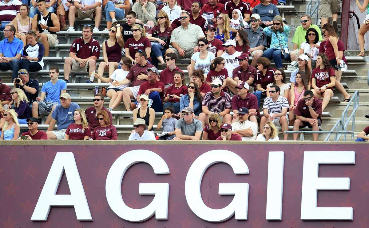 Aggie fans in the upper deck watch the first half of the Texas A&M University's Maroon & White, spring game at Kyle Field, Saturday, April 13, 2013, in College Station.