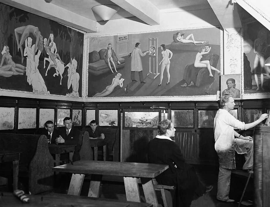 The Barbary Coast cafe Mona's had a risque mural satirizing  Works Progress Administration art. Photo: Anonymous, AP