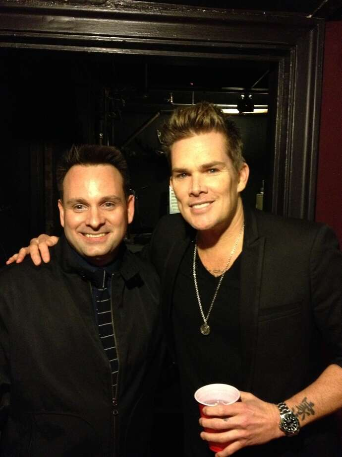Greenwich Selectman Drew Marzullo, board member of the Greenwich-based Red Ribbon Foundation with musician Mark McGrath of Sugar Ray at the Red Ribbon Gala at Capital Theatre in Port Chester, N.Y., on April 6, 2013. Photo: Greenwich Time