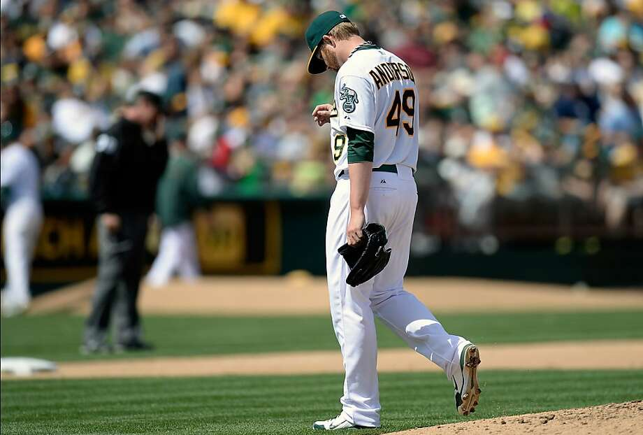 OAKLAND, CA - APRIL 13:  Brett Anderson #49 of the Oakland Athletics walks off the mound after being taken out of the game against the Detroit Tigers in the six inning at O.co Coliseum on April 13, 2013 in Oakland, California.  (Photo by Thearon W. Henderson/Getty Images) Photo: Thearon W. Henderson, Getty Images