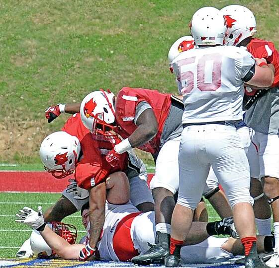 Lamar offense and defense brawl during the Lamar University football scrimmage at Provost-Umphrey St